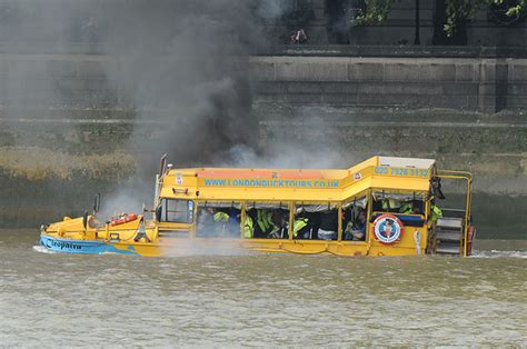 duck boat tours duck boat catches fire on river thames in pictures