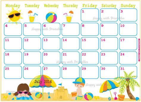 Summer C Calendar Template 2016