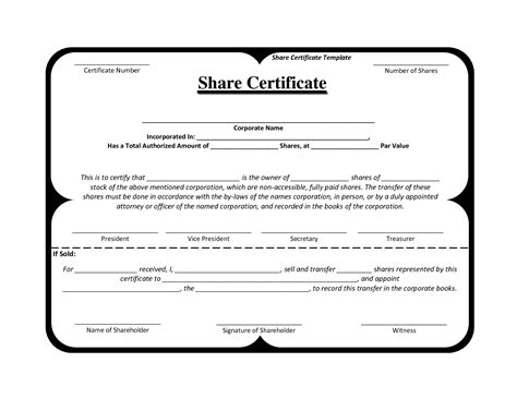 shareholding certificate template best and various