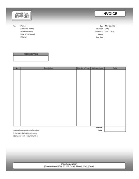template for invoice for services service invoice template