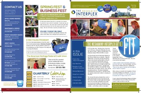 Neshaminy Interplex Newsletter And Quarterly Events Calendar Upcoming Events Newsletter Template