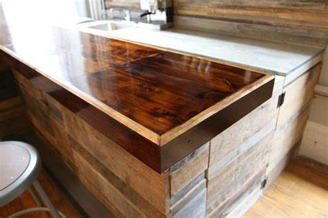 reclaimed wood bar top reclaimed wood bar rustic new york by jen chu design