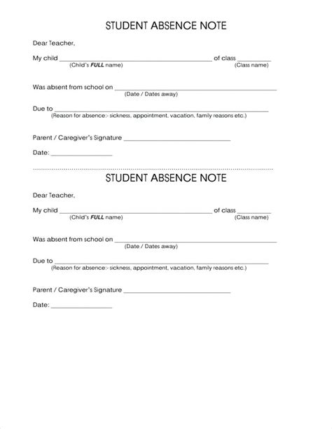 sick note template for school template sick note template for school