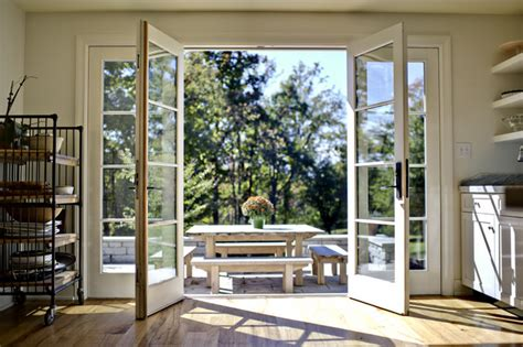 kitchen doors open traditional patio