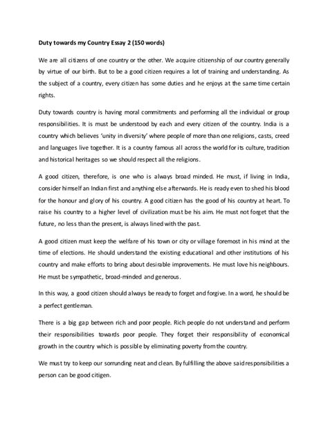 My Country India Essay For by Duty Towards My Country Essay 2