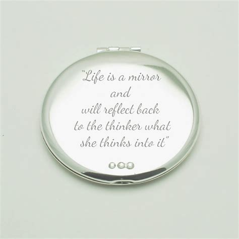 Silver Personalised Compact Mirror With Diamante Crystals