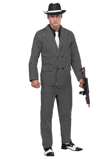 s wide pin stripe gangster costume