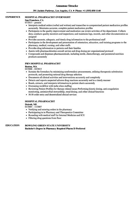 Hospital Pharmacist Resume by Hospital Pharmacist Resume Sles Velvet