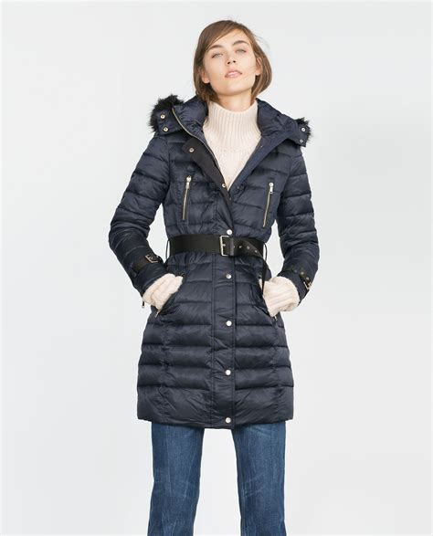 Quilted Coat With Fur by Zara Quilted Coat With Detachable In Black Blue