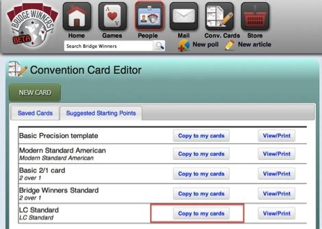 bridge convention card template bridge winners convention card editor help guide