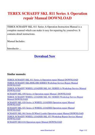 Terex Schaeff Skl 811 Series A Operation Repair Manual By