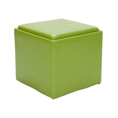 green ottoman storage trent home ladd faux leather storage cube ottoman in green