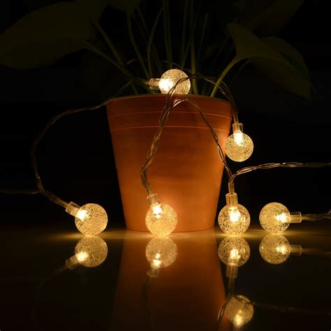 Solar String Lights 19 7ft 30 Led Waterproof Crystal Ball White Solar String Lights