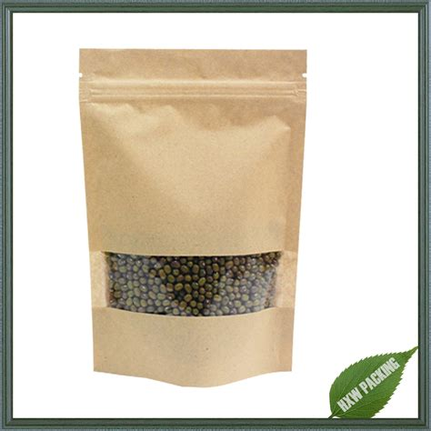 Paper Packaging stand up kraft paper food packaging bag with window