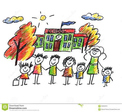 scuola clipart school and happy children stock illustration image 56394870