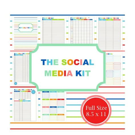 social media planner social media kit blog planner printable planner business social blog website to do list