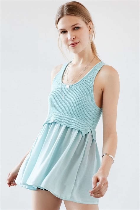 8 Tops By Kimchi Blue by Kimchi Blue Babydoll Mix Tunic Tank Top In Blue Lyst