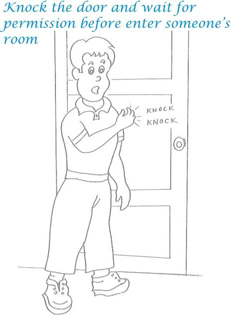 Etiquette Manners For Kids In Home Coloring Pages Manners Coloring Pages 2