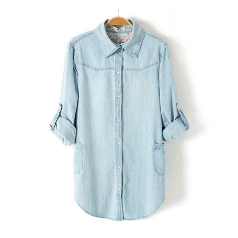 Light Blue Denim Shirt by Light Blue Denim Shirt Lapel Sleeved Blouse On Luulla