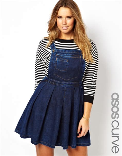 Transition Wear Cutest Pinafore Dress by Image 1 Of Asos Curve Denim Pinafore Dress In Vintage