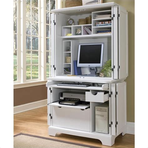 White Desk Armoire by Home Styles Naples White Computer Armoire 5530 190