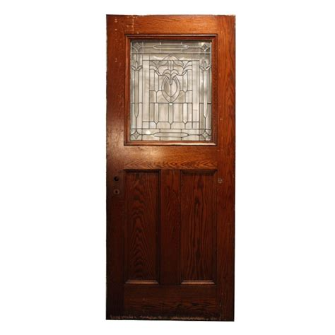 Salvaged Exterior Doors Gorgeous Antique 34 Salvaged Exterior Door With Beveled Leaded Glass Ned73 Rw For Sale