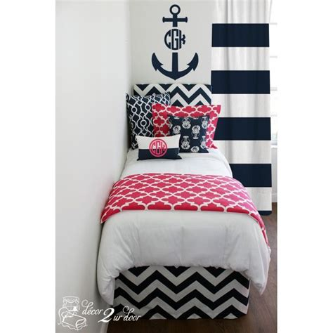 nautical bed in a bag pink navy nautical designer bed in a bag set custom