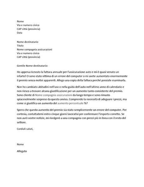 lettere reclamo lettera di reclamo relativa a un aumento premio