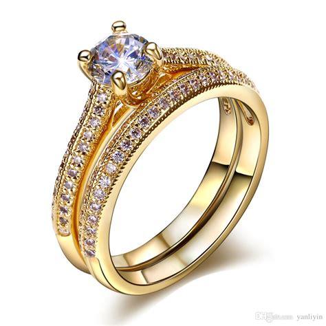 bridal wedding rings set 18k gold ring white gold plate