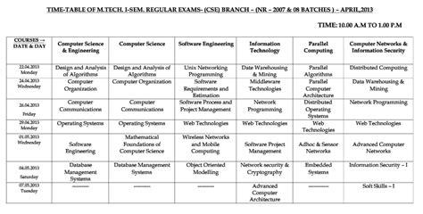 Jntu Mba Time Table by Jntu Hyd Mtech Semester Regular Nr Time Table April