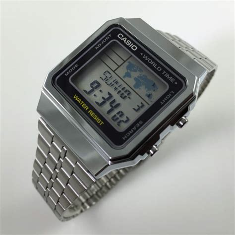 Casio A500wa 1df Stainless Steel World Time 100 New Original s casio world time stainless steel a500wa 1