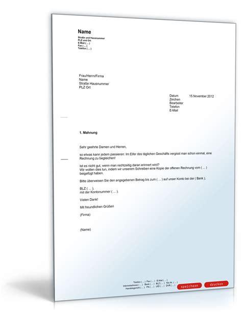 Mahnung Musterbrief 1 Mahnung Zahlungserinnerung Freundlich Muster Vorlage Zum