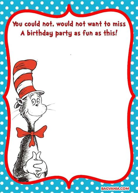 dr seuss birthday invitations templates free printable dr seuss cat in the hat invitation