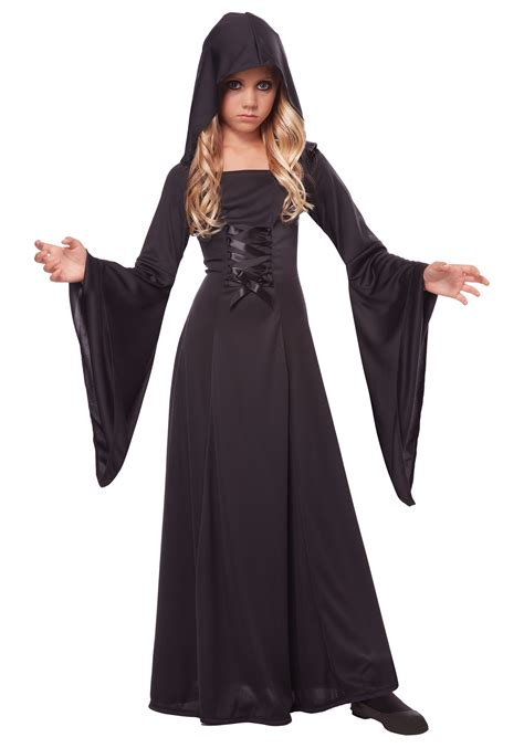 costume robe s deluxe black hooded robe