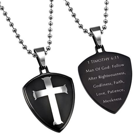 black shield of faith of god necklace 1 timothy 6 11