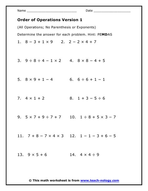 order of operations with exponents and parentheses worksheets all operations no parenthesis or exponents