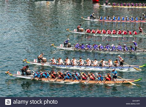 high angle view of a dragon boat race part of chinese new - Dragon Boat Racing Chinese New Year