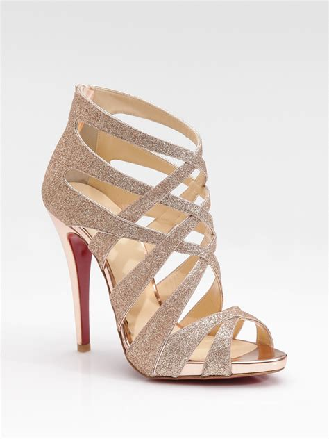 strappy sandals christian louboutin balota glitter leather strappy sandals