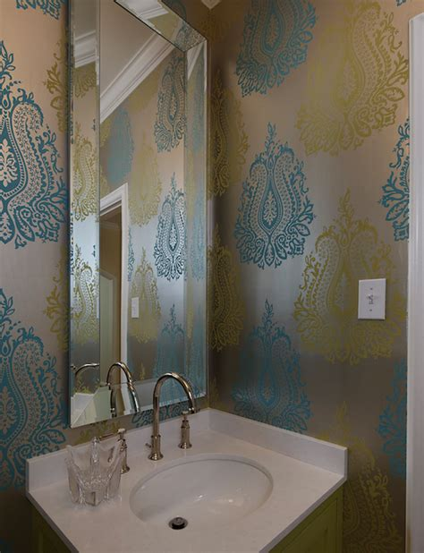 contemporary bathroom wallpaper metallic wallpaper contemporary bathroom artistic