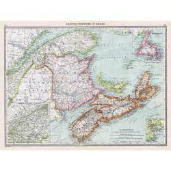 antique map 1906 maritime provinces of canada