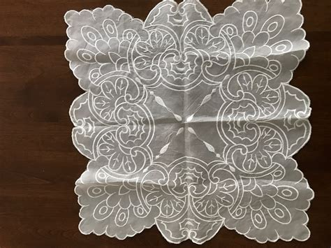 Handmade Lace - handmade lace table doily square shape home and garden