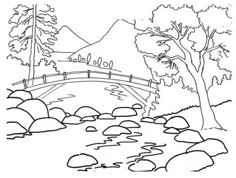 river bank coloring page beautiful landscape coloring pages kids coloring page