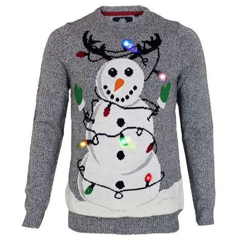 mens light up jumpers mens threadbare novelty light up tangled snowman pullover