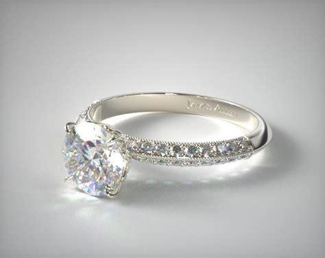 pave knife edge lotus basket engagement ring platinum