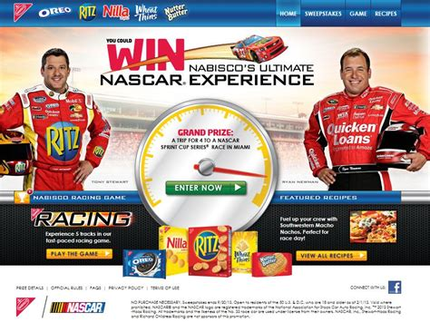 you could win nabisco s ultimate nascar experience sweepstakes sweepstakes fanatics - Nascar Sweepstakes