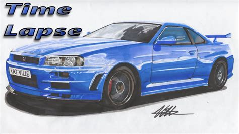 nissan gtr skyline drawing nissan skyline r34 drawing lapse