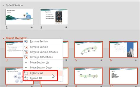 html expand collapse section viewing sections in powerpoint 2013