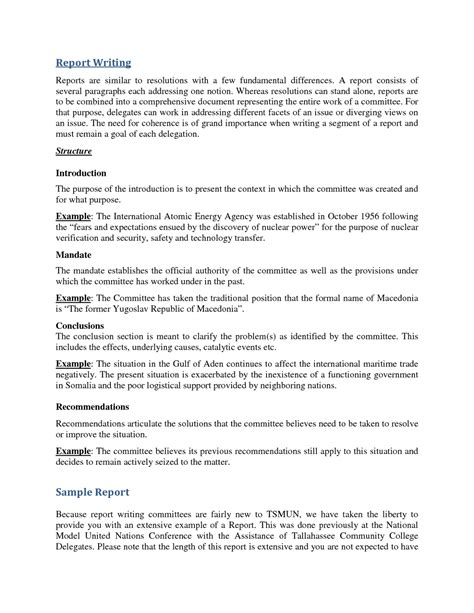report writing format for students sle