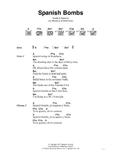 printable lyrics to jingle bombs the clash spanish bombs sheet music at stanton s sheet