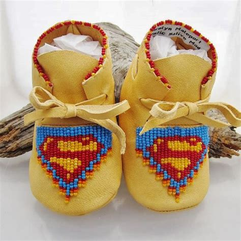 superman beaded baby moccasins and soft by authenticnativemade